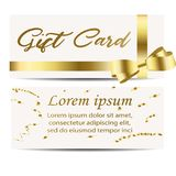 Set of beautiful cards with gold gift bows with. Ribbons. Vector illustration Stock Photos