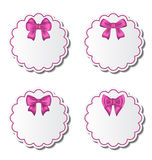 Set of beautiful cards with pink gift bows Royalty Free Stock Photo