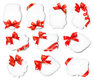 Set of beautiful cards with red gift bow Royalty Free Stock Images