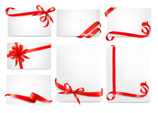 Set of beautiful cards with red gift bows Stock Image