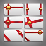 Set of beautiful cards with red gift bows with ribbons Vector ep Royalty Free Stock Photography