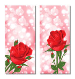 Set of beautiful cards with red roses Royalty Free Stock Photo