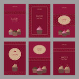 Set of beautiful cards templates. Cute cards with cupcake. Cute set of cards with cupcakes. Template design Stock Image