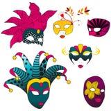 Set of beautiful carnival masks Stock Image