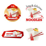 Set beautiful cartoon icon and badges of fast food Royalty Free Stock Photo