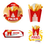 Set beautiful cartoon icon and badges of fast food Royalty Free Stock Image