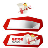 Set beautiful cartoon icon and banner of fast food Royalty Free Stock Photos