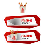 Set beautiful cartoon icon and banner of fast food Stock Photo