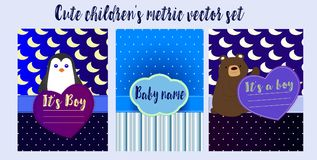 Children`s metric for boys - cute penguin and bear on a blue background pattern stock illustration