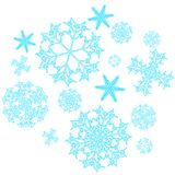 A set of beautiful, Christmas, carved, New Year, festive unique blue, turquoise and white snowflakes of different shapes and sizes. On a white background Royalty Free Stock Images