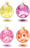 Set of beautiful Christmas glass balls. With decoration Stock Photography