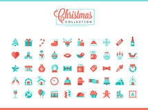 Set of 50 beautiful Christmas icons, flat design style. Vector illustration Stock Photos