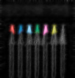 set of beautiful colored black pencils, abstract painting royalty free stock photography
