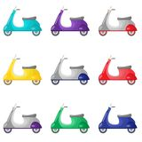 Set of beautiful colored two-wheeled scooters serving for movement and delivery vector illustration