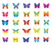 Set of beautiful colorful butterflies for decorati Stock Photography