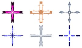 Set of beautiful colorful crosses Stock Photo