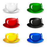 Set of beautiful colorful cups Royalty Free Stock Images