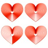 Set of beautiful cool hearts with stripes on a white background Stock Image