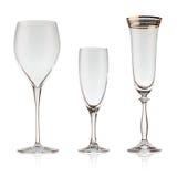 Set of beautiful crystal glasses Stock Image