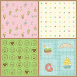 Set of Beautiful Cupcakes Backgrounds Royalty Free Stock Images