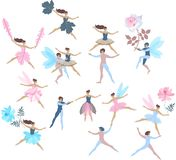 Set of beautiful dancing fairies and elves isolated on white background. Vector summer design. Endless print for fabric, paper. Wallpaper, wrapping design stock illustration