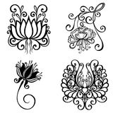 Set of Beautiful Deco Flowers Royalty Free Stock Image