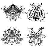 Set of Beautiful Deco Flowers Royalty Free Stock Photography