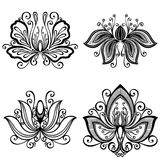 Set of Beautiful Deco Flowers Royalty Free Stock Photo