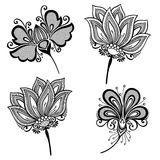 Set of Beautiful Deco Flowers Stock Photos
