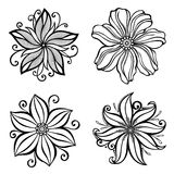 Set of Beautiful Deco Flowers Royalty Free Stock Image