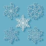 Set of Beautiful Deco Small Snowflakes Royalty Free Stock Photos