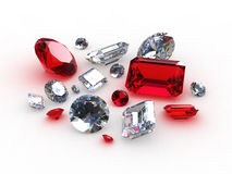 Set beautiful diamond and ruby stones. 3D Royalty Free Stock Images