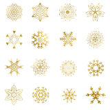 Set of beautiful different snowflakes isolated on white -  Stock Photography