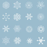 Set of beautiful different snowflakes Royalty Free Stock Photography