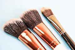 A set of beautiful different soft brushes for make-up from natural nap for beauty targeting and applying a tonal foundation royalty free stock image