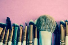 A set of beautiful different soft brushes for make-up from natural nap for beauty targeting and applying a tonal foundation royalty free stock photos