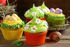 Set of beautiful Easter cupcakes Royalty Free Stock Image