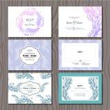 Set of Beautiful Elegant Wedding Invitations with Feathers Royalty Free Stock Photo
