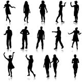 Set beautiful fashion girl and men silhouette on a white background Royalty Free Stock Photos