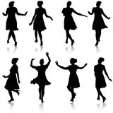 Set beautiful fashion girl silhouette on a white background Stock Photography
