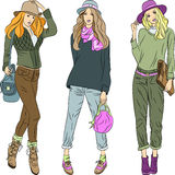 Vector beautiful fashion girls top models in hats  Royalty Free Stock Image