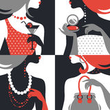 Set of beautiful fashion woman silhouettes Stock Images