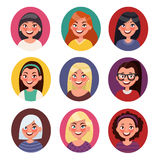 Set of beautiful female avatars with different hairstyles Royalty Free Stock Photography