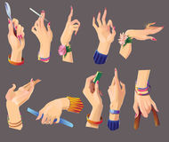 Set of beautiful female hands. A collection of beautiful female hands depicting various gestures indicates keeps handbag keeps something in his fingers, shows Stock Images