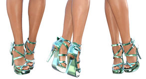 Set beautiful female legs in sandals high heels. Stock Photo