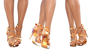 Set beautiful female legs in sandals high heels. Royalty Free Stock Image