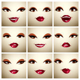 Set of  beautiful female simple portraits with stylish mak Stock Photo