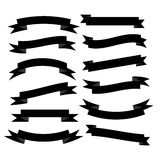 Set of beautiful festive black ribbons. Vector illustration. Set of beautiful festive black ribbons. Elements for your design vector illustration Royalty Free Stock Photos