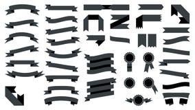 Set of beautiful festive black ribbons. Vector illustration. Set of beautiful festive black ribbons. Elements for your design vector illustration Royalty Free Stock Image