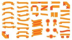 Set of beautiful festive colored orange ribbons. Vector illustration. Set of beautiful festive colored orange ribbons. Elements for your design vector Royalty Free Stock Images